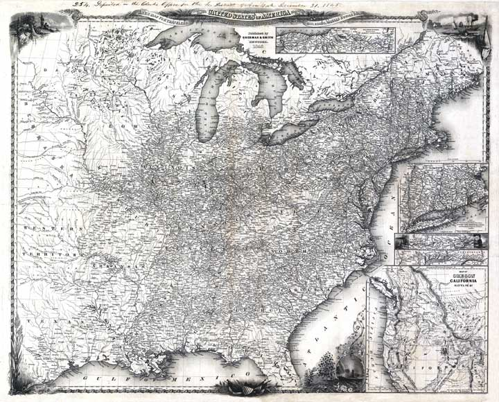 Of The United States Of America Showing The Railroads Cs Stage Roads With The Distances Published By J Calvin Smith 1846