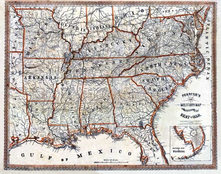 perrine s new military map ilrating the seat of war a civil war map of the southeastern u s published by charles o perrine 1862
