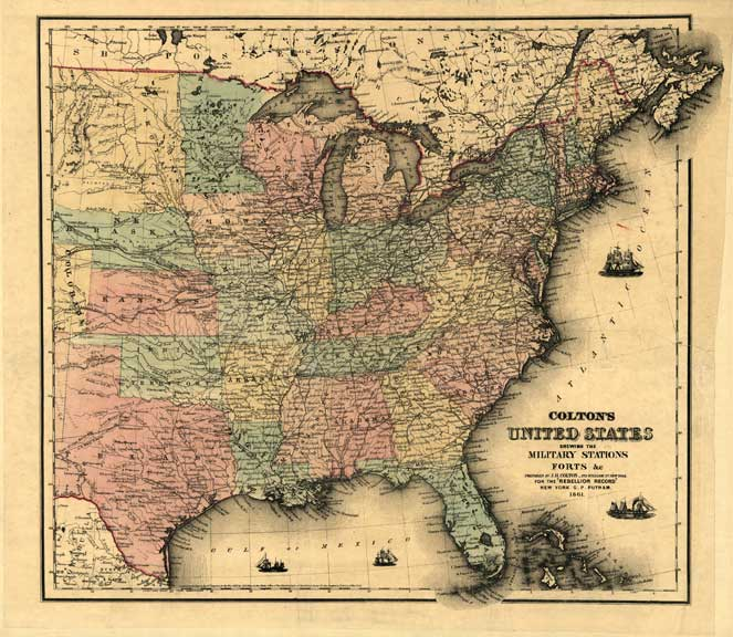 Colton S Map Of The United States Shewing The Military Stations Forts C Similar To Map 338 Except Showing Only The Eastern U S Created For The